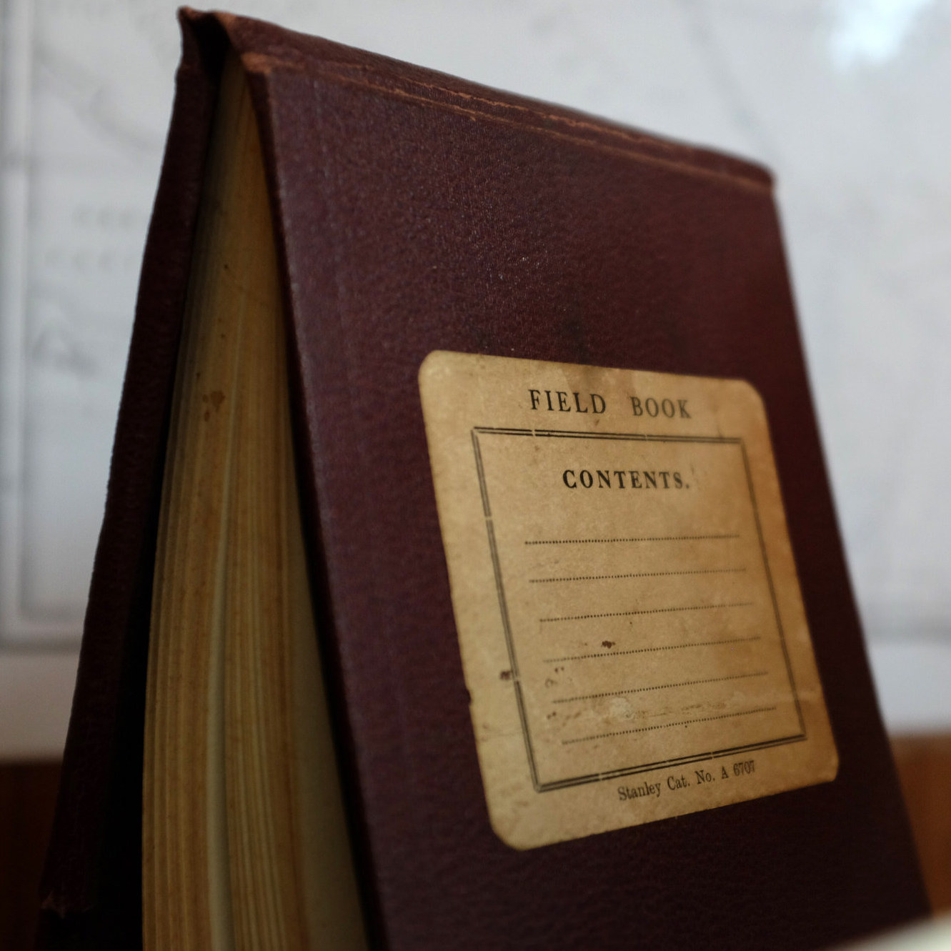 A field book standing on end